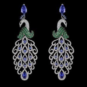 Virtuti Peacock Earrings - High Jewellery